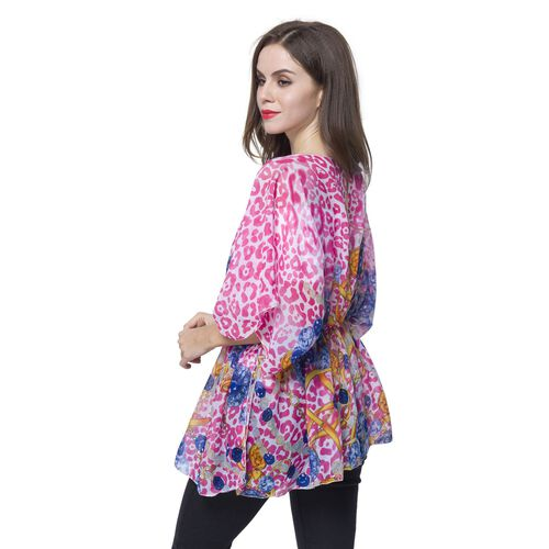 Pink and Blue Leopard Print and Jewellery Pattern Poncho (Free Size)