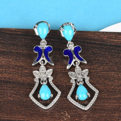 Arizona Sleeping Beauty Turquoise Enamelled Drop Earrings (with Push Back) in Platinum Overlay Sterling Silver 1.33 Ct.