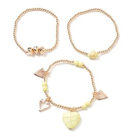Set of 3 - Yellow Howlite (Hrt), Stretchable Bead Bracelet (Size 7) with Heart Charm in Yellow Gold Tone
