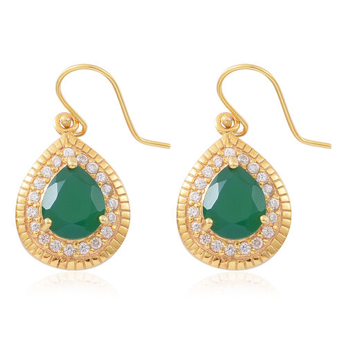Verde Onyx (Pear), Natural White Cambodian Zircon Drop Hook Earrings in 14K Gold Overlay Sterling Silver 7.250 Ct. Silver wt 5.83 Gms.