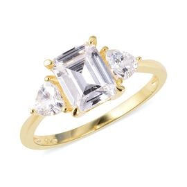 ELANZA Simulated Diamond (Emerald Cut) Ring (Size T) in Yellow Gold Overlay Sterling Silver