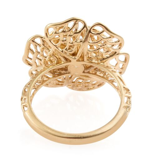 J Francis - 14K Gold Overlay Sterling Silver (Hrt) Flower Ring Made with SWAROVSKI ZIRCONIA