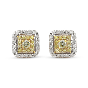 9K Yellow Gold SGL Certified Natural Yellow Diamond and White Diamond (I3/G-H) Stud Earrings 0.50 Ct