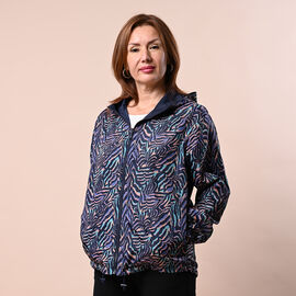 LA MAREY Zebra Pattern Water Resistant Both Side Wear Packable Jacket (Size S/M, 112x66Cm) - Blue and Multi