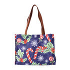 Candies and Berries Print Tote Bag with Zipper Closure (33x12.5x25cm) - Blue