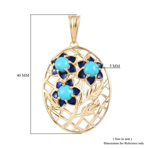Arizona Sleeping Beauty Turquoise Enamelled Floral Pendant in 14K Gold Overlay Sterling Silver 1.50 Ct.
