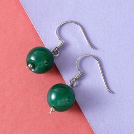 Green Agate Hook Earrings in Platinum Overlay Sterling Silver 23.280  Ct.