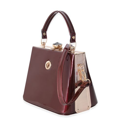 Boutique Collection High Glossed Vintage Style Burgundy Tote Bag with Adjustable and Removable Shoulder Strap (Size 22x18x14 Cm)