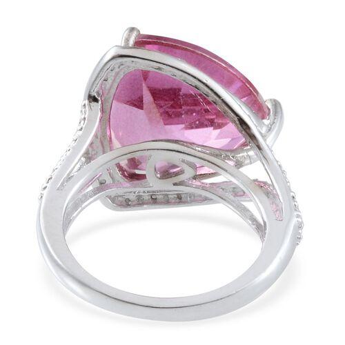 Kunzite Colour Quartz (Trl 15.25 Ct), Diamond Ring in Platinum Overlay Sterling Silver 15.270 Ct.