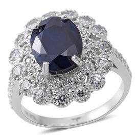 Rare Size Madagascar Blue Sapphire (Ovl 11x9 mm 4.25 Ct), Natural Cambodian Zircon Ring in Rhodium O