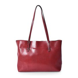 100% Genuine Leather Tote Bag with Zipper Closure (Size 39x12x27 Cm) - Red