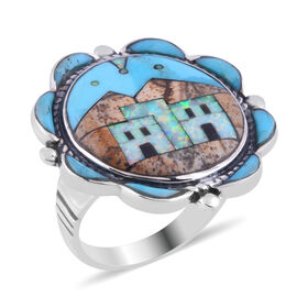 Santa Fe Collection - Multi Gemstones Ring in Sterling Silver 2.500 Ct.