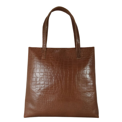 Assots London FREYA Tan Semi Structured Unlined Croc Leather Tote Bag (Size 49x38x12cm) - Tan