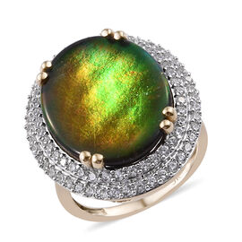 9 Carat AAA Canadian Ammolite and Cambodian Zircon Halo Ring in 9K Gold 4.46 Grams