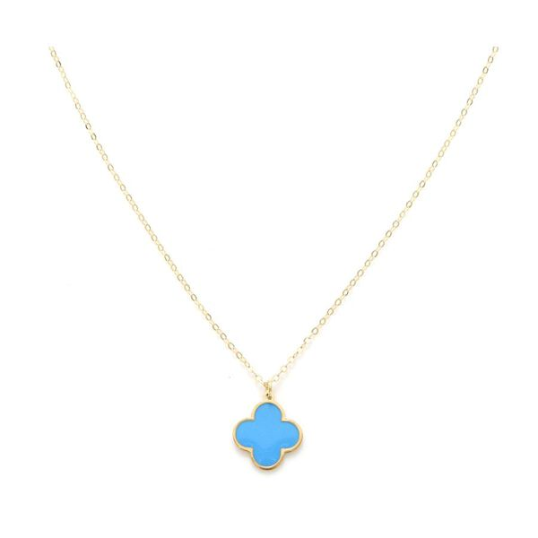 Italian Made- 9K Yellow Gold Blue Clover Necklace (Size - 18)