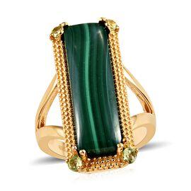 Karis Malachite (11.00 Ct),Chinese Peridot Brass ION Plated 18K Yellow Gold Ring  11.250  Ct.
