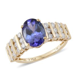 New York Collection 3.50 Carat AA Tanzanite and Diamond Ring in 14K Gold