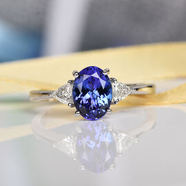 RHAPSODY 950 Platinum AAAA Tanzanite and Diamond (VS/E-F) Ring 1.55 Ct.