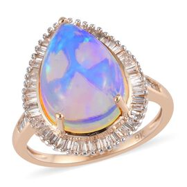 9K Yellow Gold Ethiopian Welo Opal (14x10mm) and White Diamond Halo Ring 3.90 Ct.