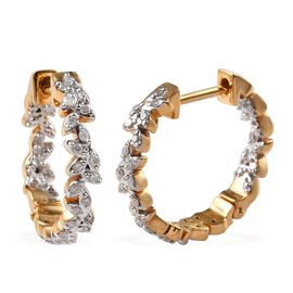 Diamond (Rnd) Olive Leaf Hoop Earrings (with Clasp) in 14K Gold Overlay Sterling Silver 0.33 Ct.