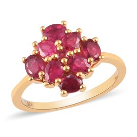 African Ruby (FF) Cluster Ring in 14K Gold Overlay Sterling Silver 1.80 Ct