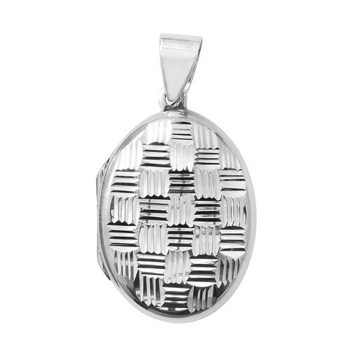 Rhodium Plated Sterling Silver Diamond Cut Locket Pendant.Silver Wt 4.97 Gms