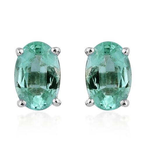 9K White Gold AA Boyaca Colombian Emerald (Ovl) Stud Earrings (with Push Back) 0.850 Ct.
