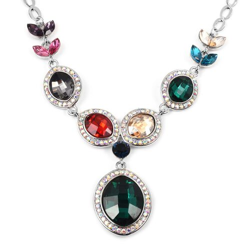 Simulated Emerald (Ovl), Multi Colour Simulated Gemstone Necklace (Size 20 with 2 inch Extender) in