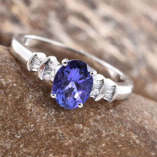 RHAPSODY 950 Platinum AAAA Tanzanite (Ovl 1.30 Ct), Diamond Ring  1.400 Ct, Platinum wt 5.55 Gms.