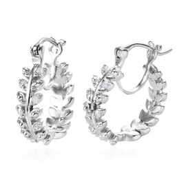 Diamond (Rnd) Oak Leaf Hoop Earrings (with Clasp) in Platinum Overlay Sterling Silver 0.05 Ct, Silve