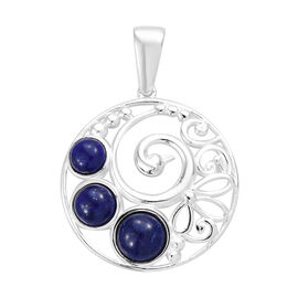 3.5 Ct Lapis Lazuli Peacock Design Pendant in Sterling Silver 4.06 Grams