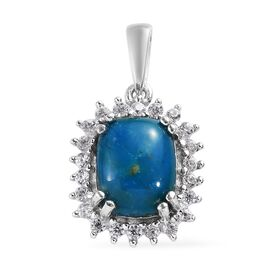 Natural Peruvian Peacock Opalina (Cush 10x8 mm), Natural Cambodian Zircon Pendant in Platinum Overla