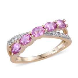9K Yellow Gold Pink Sapphire (Ovl), Natural Cambodian Zircon Ring 1.10  Ct.