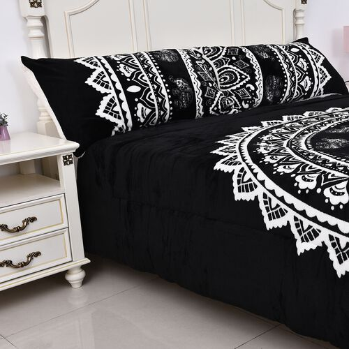 3 Piece Set - Dual Layer Faux Down Filled Sherpa Comforter (230x250 cm) and 2 Pillow Cases - Black and White