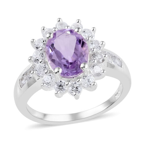 Rose De France Amethyst (Ovl), Natural Cambodian Zircon Ring in  Sterling Silver 2.750 Ct.