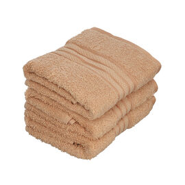 Set of 3 - Egyptian Cotton Terry Hand Towel - Beige
