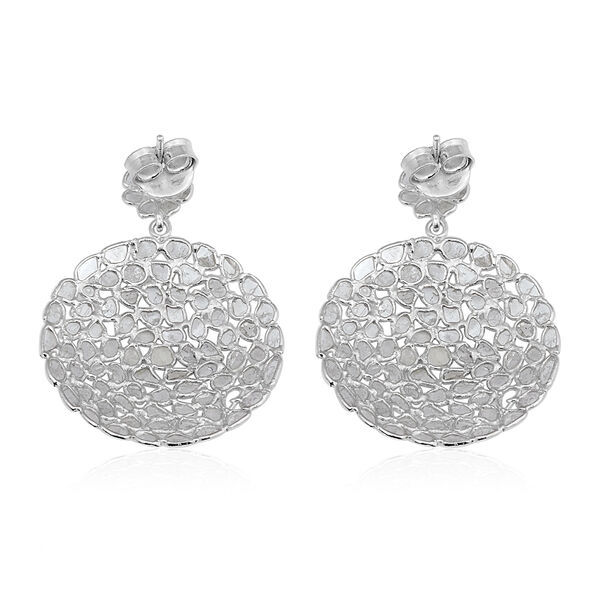 Artisan Crafted Polki Diamond Earrings (with Push Back) in Platinum Overlay Sterling Silver 5.00 Ct, Silver wt 6.90 Gms