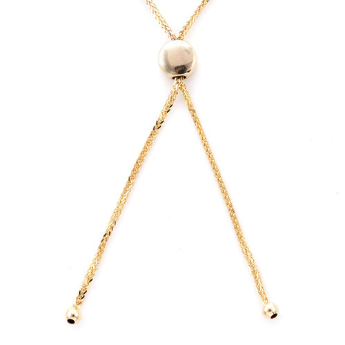 9K Yellow Gold Diamond Cut Adjustable Bolo Bracelet (Size 7.5), Gold wt 2.50 Gms