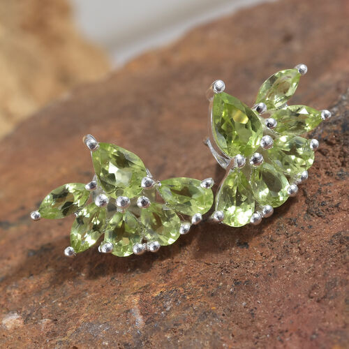 Hebei Peridot (Pear and Mrq) Earrings (with Push Back) in Sterling Silver 2.750 Ct.