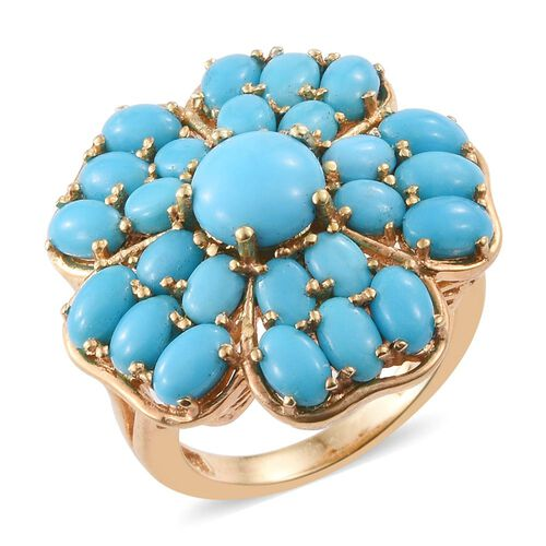 Arizona Sleeping Beauty Turquoise (Rnd) Floral Ring in 14K Gold Overlay Sterling Silver 6.000 Ct. Silver wt 6.22 Gms.