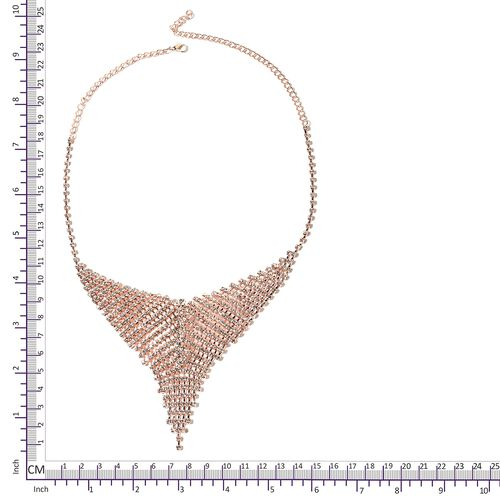 White Austrian Crystal (Rnd) Necklace (Size 22) and Earrings in Rose Plated