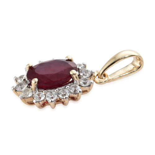 9K Yellow Gold AA African Ruby (Ovl 1.07 Ct), Natural Cambodian Zircon Pendant 1.350 Ct.
