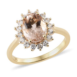 9K Yellow Gold AA Maroppino Morganite (Ovl), Natural Cambodian Zircon Ring 2.000 Ct.