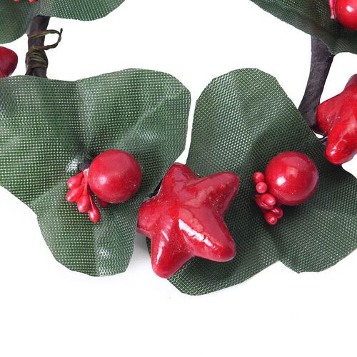 Set of 2 - Mini Candlestick wreath Embellished with Red Berry and Star (Size 7 Cm)