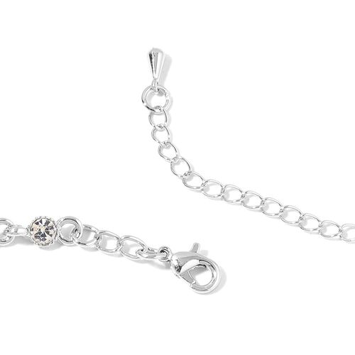 White Austrian Crystal Necklace (Size 17 with 3 Inch Extender) and Earrings (with Push Back) in Silver Tone