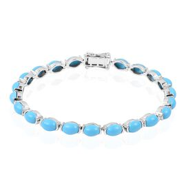 Arizona Sleeping Beauty Turquoise (Ovl) Bracelet (Size 7.5) in Rhodium Overlay Sterling Silver 16.50