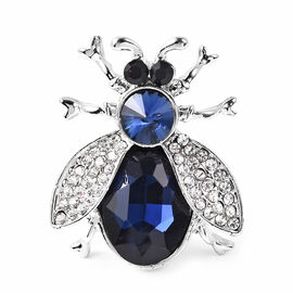 Simulated Blue Sapphire and Multi Colour Austrian Crystal Bee Brooch in Silver Tone