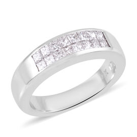 Signature Collection 0.60 Ct Diamond Princess Cut Half Eternity Ring in 18K White Gold 6.70 grams SG