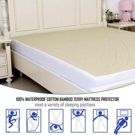 Copper Infused Bamboo Terry Waterproof Fitted Mattress Protector Single Size (90x190)