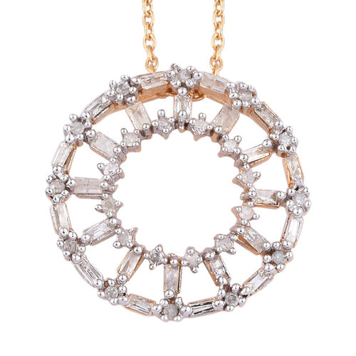 Diamond (Bgt) Circle of Life Pendant With Chain (Size 20) in 14K Gold Overlay Sterling Silver 0.330
